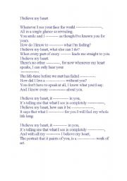 English Worksheets: I believe my heart
