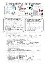 English Worksheet: Expressions of quantity - explanation, exercise and key