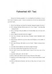 English worksheets Fahrenheit 451 Test