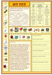 English Worksheet: my pet