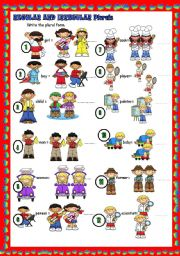 English Worksheet: Regular and irregular plurals (key included)