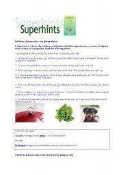 English Worksheets: superhints