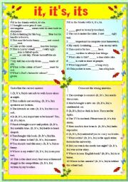 English Worksheets: IT, IT�S, ITS (WITH B/W AND ANSWER KEY)