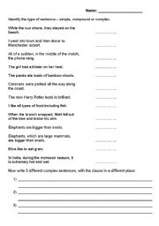 Worksheet Simple Sentences Worksheet english teaching worksheets complex sentences compound simple sentences
