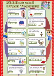 English Worksheet: Riddles and Brain teasers