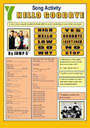Song Activity - Hello Goodbye (By Jump5) - for beginners
