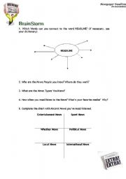 English Worksheet: HeadLines