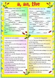 English Worksheet: A, AN OR THE (WITH B/W AND ANSWER KEY)