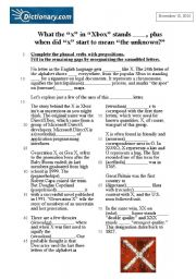 English Worksheets: What the �x� in �Xbox� stands ____, plus when did �x� start to mean �the unknown?�