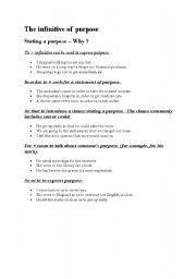 English Worksheet: The infinitive of purpose