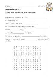 Dream Catcher Worksheet English worksheets quiz on dream catcher legend 3