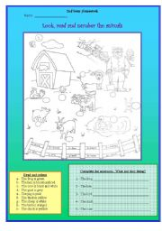 English Worksheets: What are the animals doing on the farm?