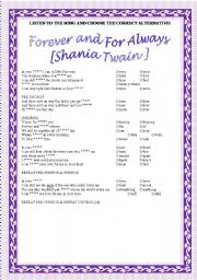 English Worksheet: Song activity - Shania Twain - Forever and For Always