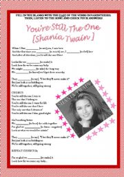 English Worksheet: Song activity - Shania Twain - You�re still the one