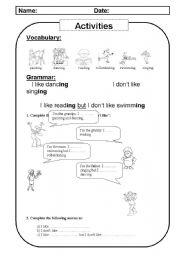 English Worksheets: like, actions