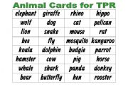 English Worksheet: Animal Cards for TPR