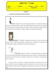 English Worksheet: test 7th  - Sports