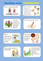 English Worksheets: FRIENDSHIP, speaking cards