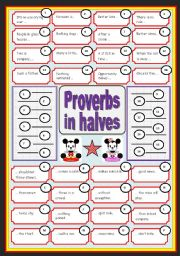 English Worksheet: English proverbs in halves (with key)