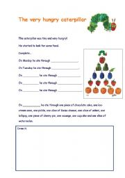 English Worksheets: The very hungry caterpillar worksheet