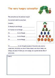 English Worksheet: The very hungry caterpillar worksheet