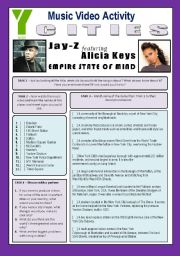 English Worksheet: Music Video Activity - Empire State Of Mind (By Jay-Z & Alicia Keys) - CITIES