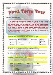 evaluation test 2 ´ LIfe style reading passage with 7 exercises: comprehension ,grammar ( past tense+ relative pronouns) w deriving nouns and final ´s´ pronunciation + a written topic .Fully editable.