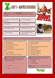 English Worksheets: Movie Session - DADDY DAY CARE (Daily Routine/Greeting & Saying Goodbye/Spelling Words)