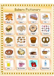 English Worksheets: BAKERY PICTIONARY (editable)
