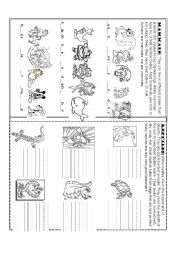 English Worksheet: Mammals and Reptiles