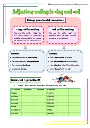 English Worksheet: Adjectives ending in -ing and -ed suffixes