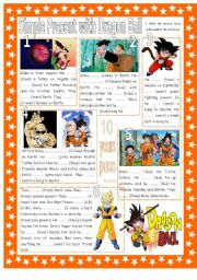 English Worksheet: Simple Present Affirmative, Negative & Interrogative with (mainly) Basic Verbs & Dragonball. 2 Pages + Key.