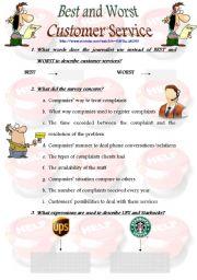 English Worksheet: BEST AND WORST CUSTOMER SERVICE