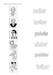 English worksheet: Matching the family members