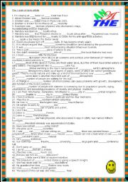 English Worksheet: Definite and indefinite article quiz with key