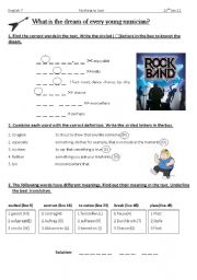 English Worksheets: Vocab work for Goahead7 U3 T1/ Every young musician�s dream.