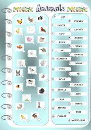 English Worksheets: Animals 1 - Matching Exercise