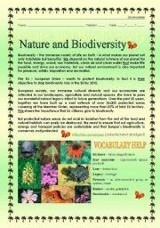 English teaching worksheets: Environment and nature
