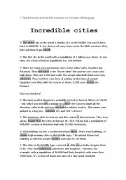 English Worksheets: Incredible cities