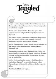 English Worksheet: tangled, reading comprehension.