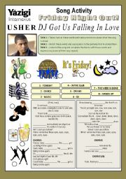 English Worksheet: Song Activity - DJ GOT US FALLING IN LOVE (By Usher) - Going Out/Parties/Entertainment