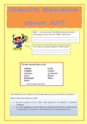 English Worksheets: DIDACTIC SEQUENCE ABOUT ART ((10 pages)) - (editable)