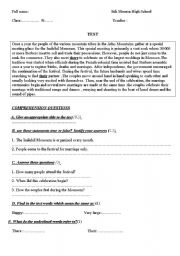 English Worksheet: A test with  text about a very special Moroccan marriage