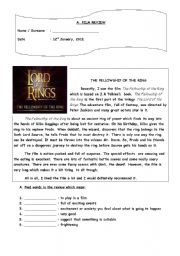 English Worksheet: FILM REVIEW
