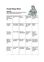 People Bingo sheet - ESL worksheet by Doot