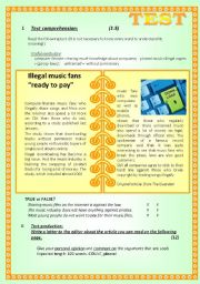 English Worksheet: TEST on the MEDIA - TV damaging the young and illegal music downloads