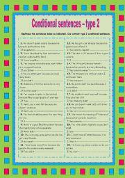 English Worksheet: Conditional sentences - type 2 (rephrasing)