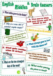 English Worksheets: English Riddles and Brain teasers (3)