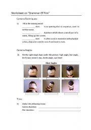 English Worksheets: Worksheet on Grammar of Film