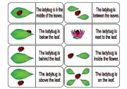 English Worksheets: Where is the Ladybug? Preposition Dominoes Part 1 (64 cards in all with review wheels and bookmarks)